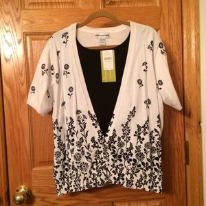 Black and white twill two-fer short-sleeve sweater